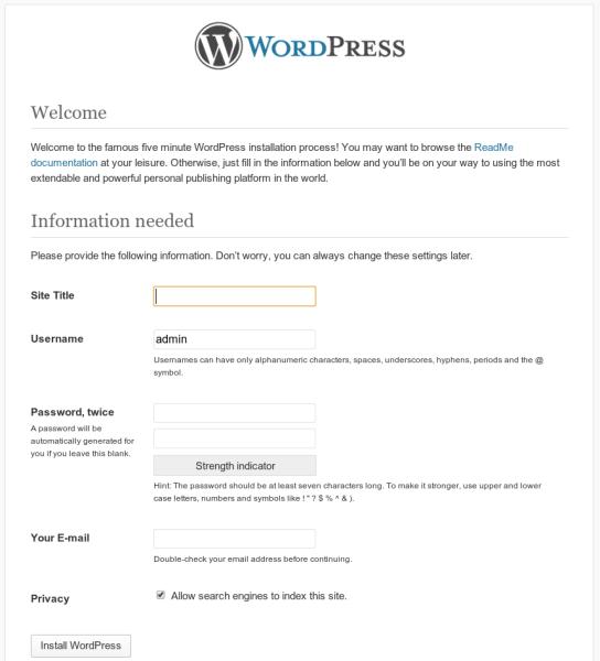 Wordpress FinishInstall1 544x600 Cách cài đặt WordPress trong 1 phút với VPS Digitalocean