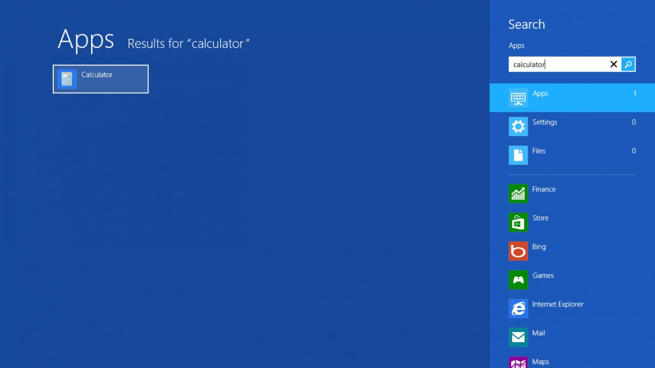 Calculator tren Windows 8 1